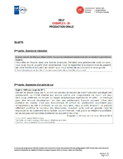 """Image du document """"Exemple 5 : B1 orales"""""""