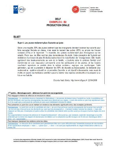 """Image du document """"Exemple 6 : B2 orales"""""""