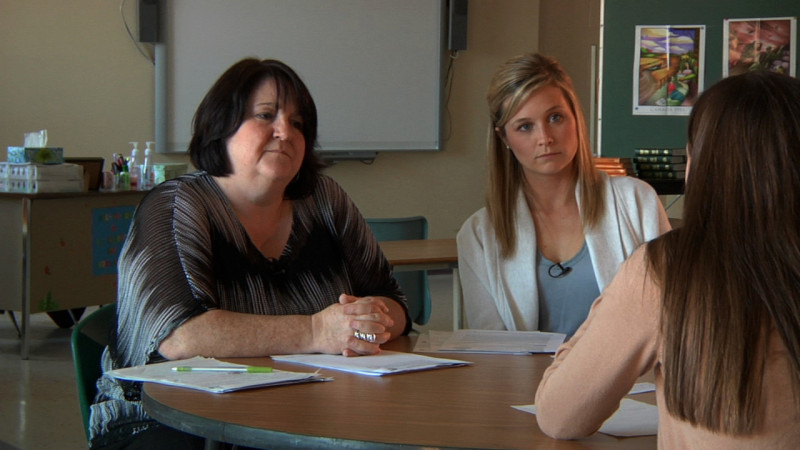 "Image of teachers interviewing student from ""Example 5 – B1"" video"