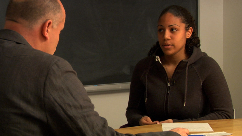 "Image of teacher interviewing student from ""Example 6 – B2"" video"