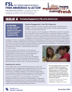 "Image of cover of the ""Issue 4 - Increasing Engagement in FSL at the School Level"" document"