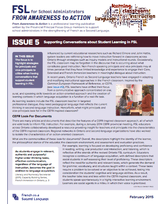 "Cover page of ""Issue 5 - Supporting Conversations about Student Learning in FSL"""