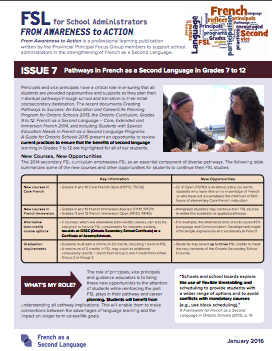 "Cover image of ""Pathways in French as a Second Language in Grades 7 to 12"" document"