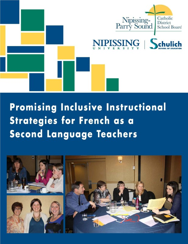 "image of cover page of ""Promising Inclusive Instructional Strategies for FSL Teachers (Nipissing-Parry Sound CDSB)"" document"