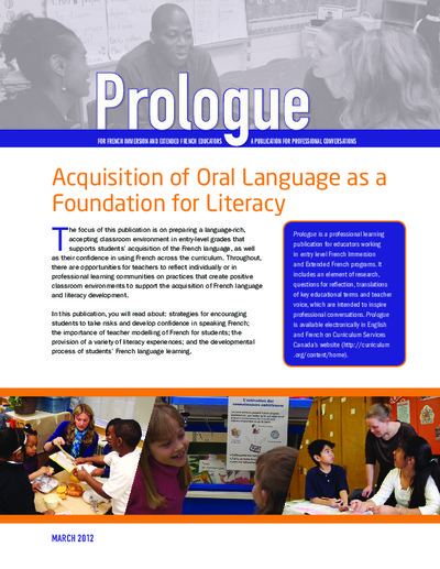 "Image of ""Acquisition of Oral Language as a Foundation for Literacy"" document"