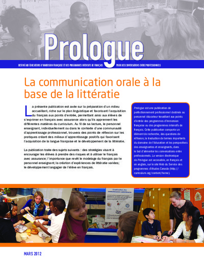"Image du document ""La communication orale à la base de la littératie"""