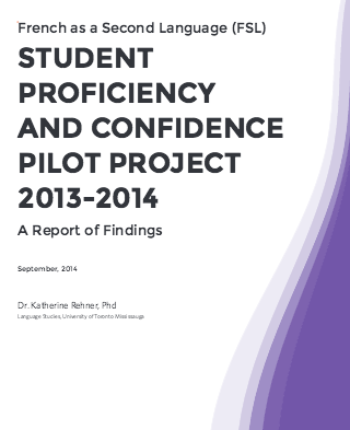 """Couverture du document """"Student Proficiency and Confidence Pilot Project 2013-2014"""""""