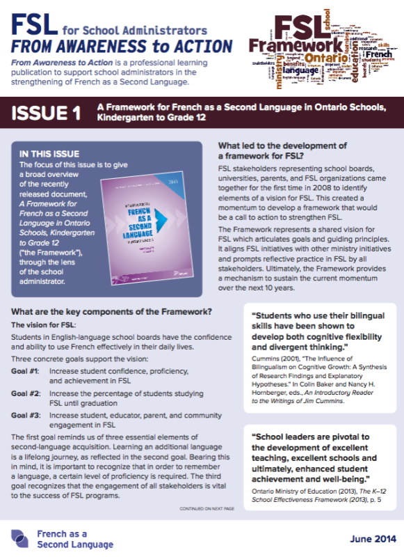 "Cover of ""Issue 1 - A Framework for French as a Second Language in Ontario Schools, Kindergarten to Grade 12"""