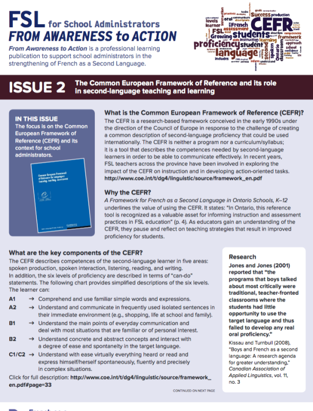"""Cover page of """"Issue 2 - The Common European Framework of Reference and its role in second language teaching and learning"""""""