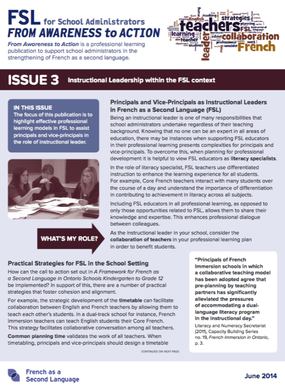 "Cover page of ""Issue 3 - Instructional Leadership within the FSL context"""
