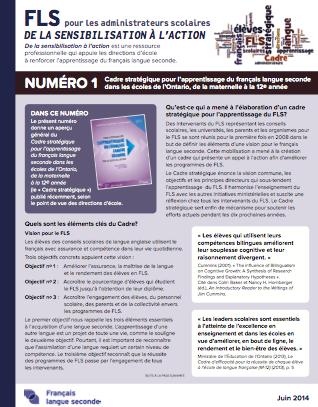 """Image du document """"Numéro 1 – Cadre stratégique pour l'apprentissage du français langue seconde dans les écoles de l'Ontario, de la maternelle à la 12e année"""""""