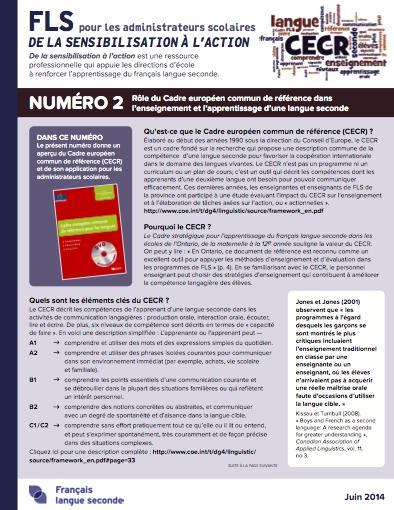 """Page couverture du document """"Numéro 2 - Rôle du Cadre européen commun de référence dans l'enseignement et l'apprentissage d'une langue seconde"""""""