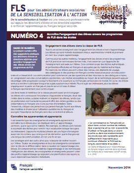 """Image de la page titre du document """"Numéro 4 – Accroître l'engagement des élèves envers les programmes de FLS dans les écoles"""""""