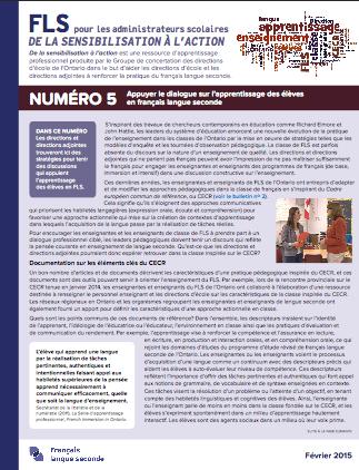"""Image du document """"Numéro 5 – Appuyer le dialogue sur l'apprentissage des élèves en FLS"""""""