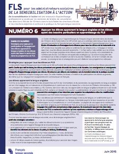 """Image de la page titre du document """"Numéro 6 – Appuyer les élèves apprenant la langue anglaise et les élèves ayant des besoins particuliers en apprentissage du FLS"""""""