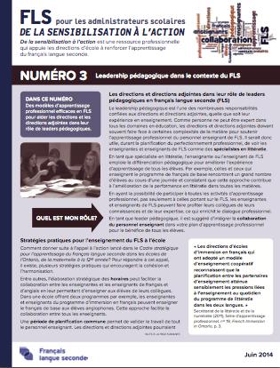 """Page couverture du document """"Numéro 3 – Leadership pédagogique dans le contexte du FLS"""""""