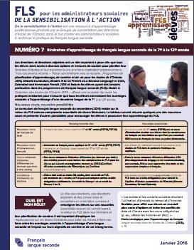 """Image de la page titre du document """"Itinéraires d'apprentissage du français langue seconde de la 7e à la 12e année"""""""